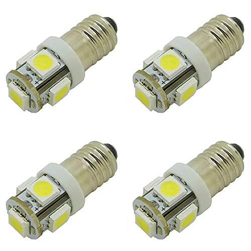 4 Stück E10 Drehsockel EY LED-Leuchtmittel, Schraubsockel 6V 5 SMD, 0,5 W 40Lm (6V, Warmweißes Licht)