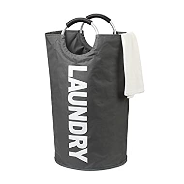 JEKSA Laundry Bag, Collapsible Laundry Hamper with Alloy Handles. Large Foldable Laundry Basket for Heavy Duty, College, Camping. Durable Clothes Hamper - Easy to Clean. (Dark Grey)