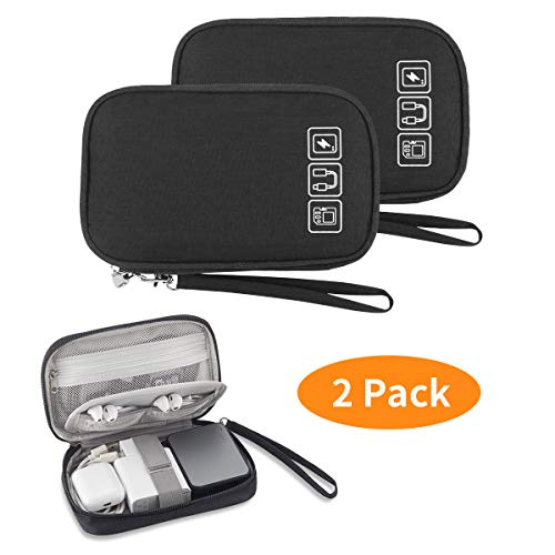 2PCS Electronic Organizer, Small Travel Cable Organizer Bag Pouch Portable Electronic Accessories Storage Case for Cable, Cord, Charger, Hard Drive, Earphone, USB,SD Card, with 4 Cable Ties(Black)