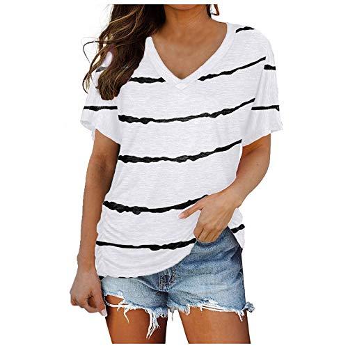 KYZRUIER 2021 nuevo casual llano corto tops para las mujeres, señoras raya impresión V-cuello suelto más tamaño camisetas cortas ropa