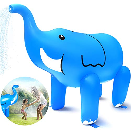 Dillitop Elephant Sprinkler, Inflatable Elephant Water Toys Outdoor Inflatable Ginormous Elephant Yard Sprinkler for Kids(XL)