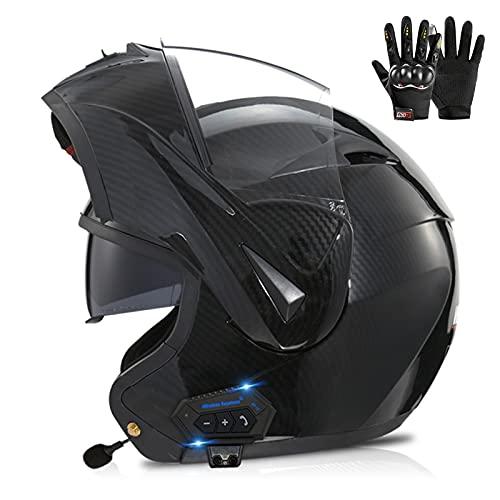 ZPTTBD Bluetooth Casco Moto Modular, Casco de Moto Scooter Integrado con Doble Visera Transpirable y Cómodo Cascos de Motocicleta para Adultos Mujeres y Hombres, ECE Homologado