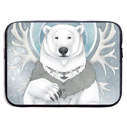 RTBB Laptop-Schutzhülle, 3D, Eisbär, Spirit, Tiermotiv, für 13/15 Zoll, Schwarz , 33 cm