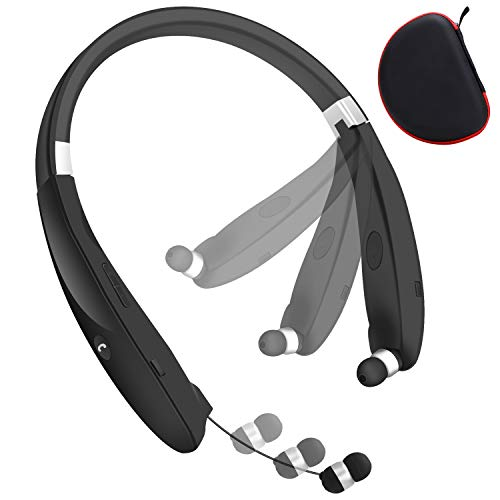 Bluetooth Headphones, Wireless Headset Retractable Earbuds Neckband Earphones Compatible with iPhone Android & Other Bluetooth Enabled Devices (Call Vibrate Alert, Noise Canceling) (Black)