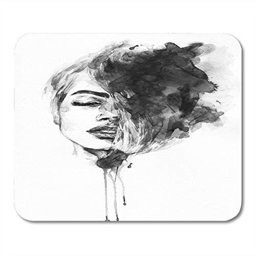 Mauspad mädchen frau porträt abstrakte aquarell gesichtsfarbe tinte make-up mousepad für notebooks, Desktop-computer maus matten