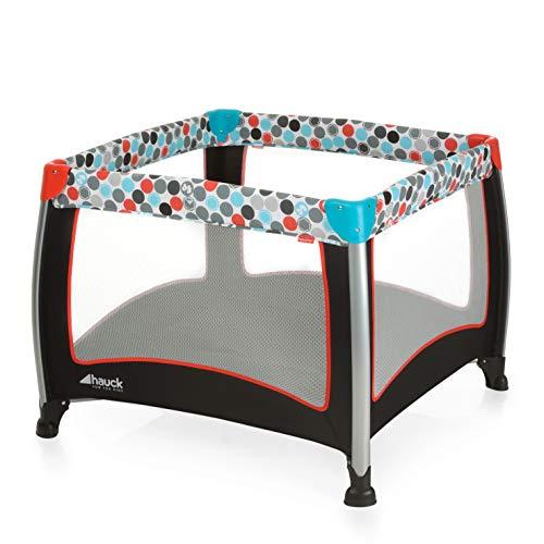 Fisher-Price Laufgitter Play N Relax SQ - faltbarer Laufstall 90x90 cm für sicheres Spielen - auch als Reisebett nutzbar, inklusive Tragetasche - Schwarz Bunt