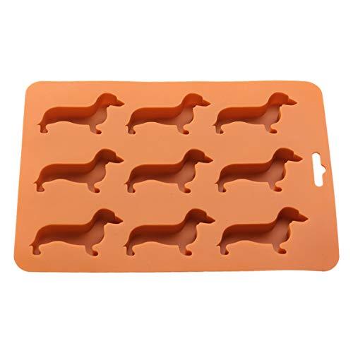 BESTonZON 9 Würfel Eiswürfelschale Dackel Hund geformt Silikon Schokoladenform Eisherstellung Schimmel