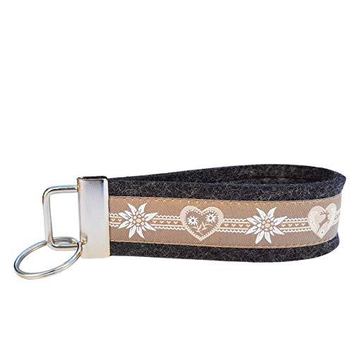 Schlüsselanhänger Schlüsselband Wollfilz schwarz grau Webband Herzen beige Edelweiß Trachtenschick Taschenanhänger Landhausstil!