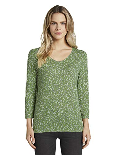 TOM TAILOR Damen T-Shirts/Tops Blusenshirt mit Print Green Flowery Design,S