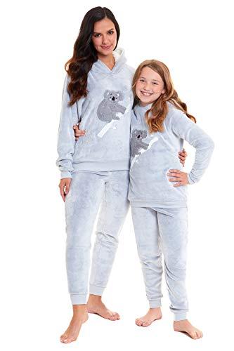 Habigail Ladies Girls Pyjamas PJ's for Women Twosie Pajama Set - Mum & Daughter Matching Pajamas Sets (Grey Koala, Small)