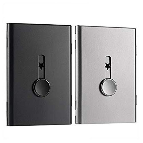 PQZATX 2 Paquetes de Titular de la Tarjeta de Negocio,Caja de la Tarjeta de Memoria USB Tarjetero de Negocio de Acero Inoxidable Deslizable el Estuche para Tarjetas (Negro y Gris)