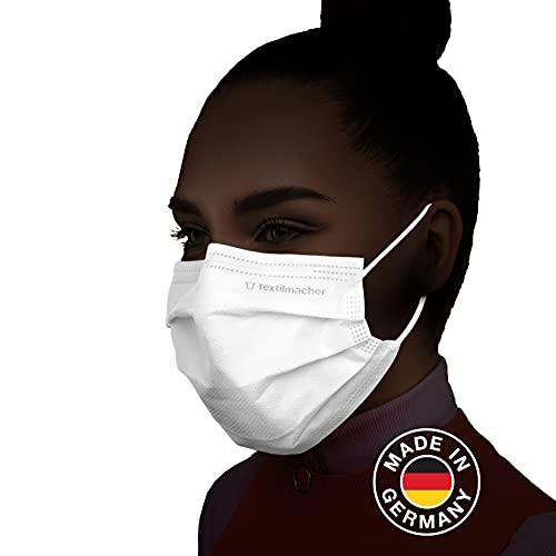 OP Masken Made in Germany I 50 Stück I CE zertifiziert I 3-lagig I Mundschutz Nasenschutz medizinisch I Textilmacher TMask Easy Fit® Medical Typ II Weiß