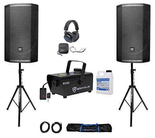 "(2) JBL PRX815W 15"" 3000 Watt Powered Speakers w/Wi-Fi+Stands+Headphones+Fogger"