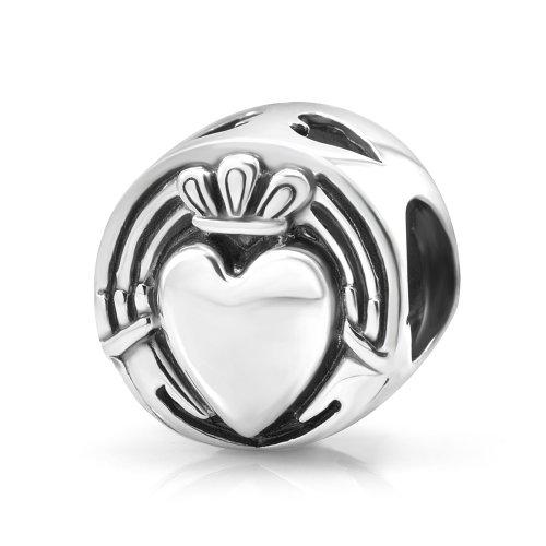 925Sterling Silve irlandés Claddagh amistad Bead compatible con pulseras estilo Pandora