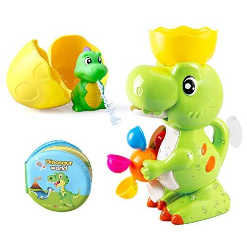 BeebeeRun Juguete para el baño Dinosaurio Baño Toy con Dino Bath Libro Fuente Dinosaurio Toy Bath Juego para niños pequeños Niños Niños Niñas 1 2 3 4 años