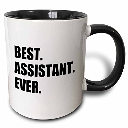 3dRose Best Assistant Ever-Bold Black Text-Fun Work And Job Pride Gifts Two Tone Mug, 11 oz