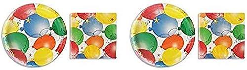 Party  Pappteller mit Luftballonmotiv, 18 Stück und Servietten, 20 Stück 2-(Pack)