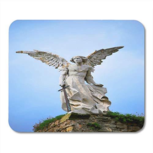Alfombrillas de ratón Figura Azul Escultura de Ángel de la Guarda con Espada en el Cementerio Comillas Cantabria España Guerrero Alfombrillas De Raton