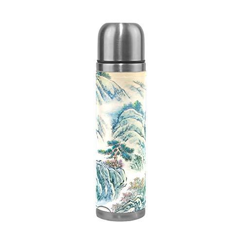 Ahomy Edelstahl-Thermoskanne, chinesische Landschaft, Malerei, Vakuum-isoliert, Auslaufsicher, Reisebecher, 500 ml
