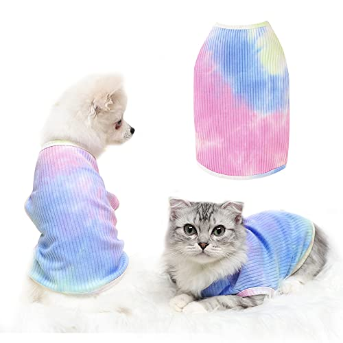 Banooo Rainbow Tie-dye Dog Summer Shirt Soft Cooling Dog T-Shirt Breathable Stretchy Doggie Tank Top Cute Puppy Sleeveless Vest Pet Clothes Apparel for Small Medium Dog Cat (Rainbow, S)