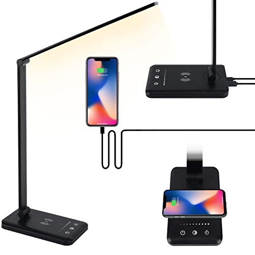 IKLLO LED Desk lamp Eye Protection Desk lamp with Wireless Charger USB Charging Port Touch Control 5 Lighting Modes 5 Brightness 30/60 min Auto Timer Folding Office Bedroom Reading lampBlack