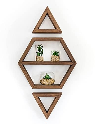 SKANROK - Estantería de pared de madera natural, juego de 3 pequeñas estanterías de pared, diseño para decoración del hogar, aprox. 70 x 35 cm, decoración del hogar, estante pequeño de pared