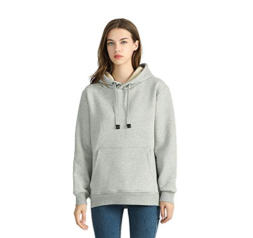 SHEING Women's Warm Sherpa Lined Pullover Hoodie Fleece Sweatshirt Front Pocket ThickenedWinter Hooded (Light Grey, S)