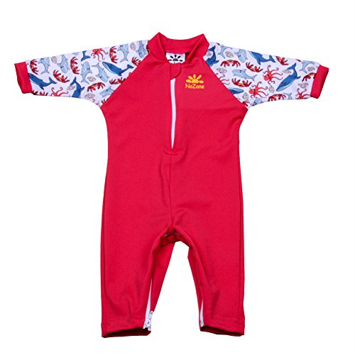 Nozone Fiji Sun Protective Baby Swimsuit in Red/Salty, 6-12 Months
