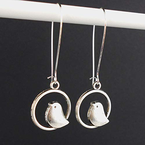 Extra Long Bird Earrings with Sterling Silver earwires, and Gift Box