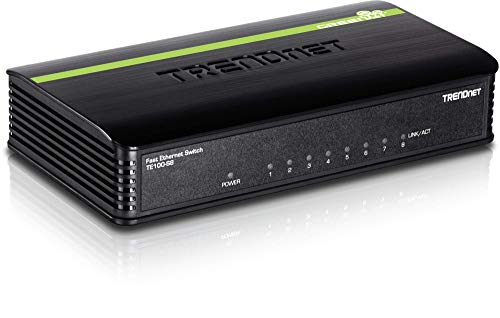 TRENDnet 8-Port Unmanaged 10/100 Mbps GREENnet Ethernet Desktop Switch, TE100-S8, 8 x 10/100 Mbps Ethernet Ports, 1.6 Gbps Switching Capacity, Plastic Housing, Network Ethernet Switch, Plug & Play