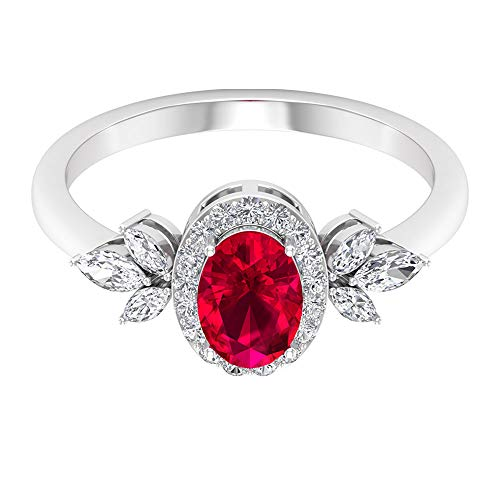 Anillo de boda con forma ovalada de rubí creado por laboratorio de 1,06 quilates, anillo de diamante con forma de marquesa certificado SGL, 14K Oro blanco, ruby lab creado, Size:EU 61