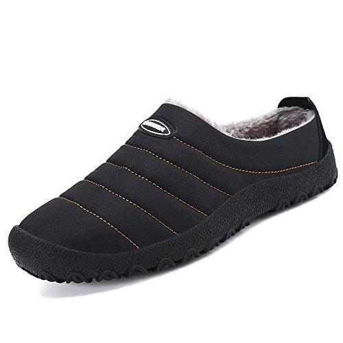 SAGUARO® Invierno Al Aire Libre Zapatillas Caliente Slippers Interior Suave Algodón Zapatilla Mujer Hombres Casa Zapatos, Negro 43
