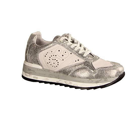 Maca Kitzbühel 2458 White Silver (grau) - Schnürschuh - Damenschuhe Sneaker, Grau, Leder