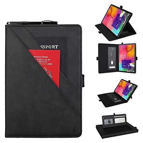 GLXC AYDD Horizontal Flip Double Bracket Leather Case for Galaxy Tab A (2019) 10.1 / T510 / 515, with Card Slots & Photo Frame & Pen Slot (Black) (Color : Black)