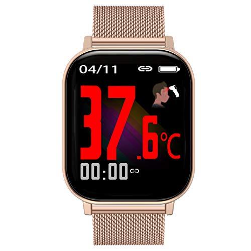 HQPCAHL Smartwatch, Fitnessuhr 1,54 Zoll Touch-Farbdisplay Fitness Armbanduhr Fitness Tracker Mit Temperaturmessung Herzfrequenz Schlafmonitor Sportuhr Smart Watch Für Damen Herren,A