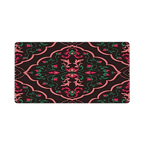 Alfombrilla de ratón Grande para Juegos,Plantilla de Ornamento Floral Oscuro para alfombras orientales, Textiles, Papel,Base de Goma Antideslizante,Adecuada para Jugadores,PC y portátil(80 x 30cm)