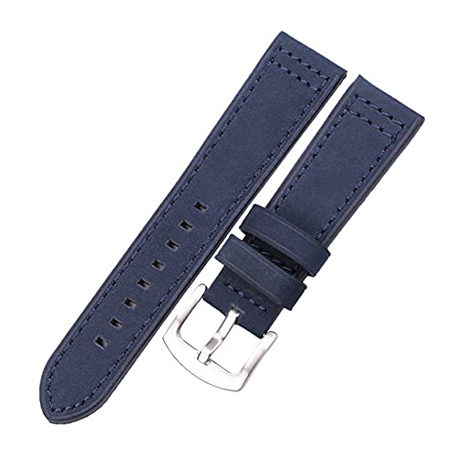 HANRUO Correa de reloj para mujer y hombre (color de la correa: hebilla de plata azul, ancho de la correa: 20 mm)