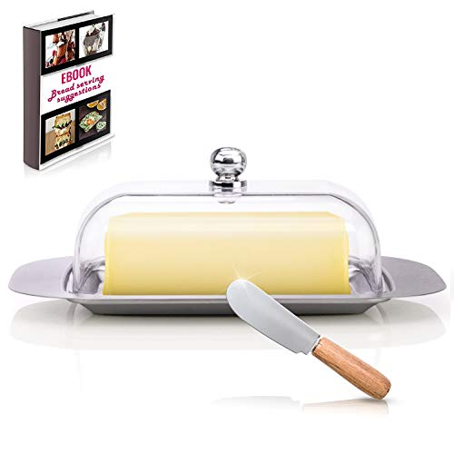 """Covered Butter Dish For Kitchen - Stainless Steel Metal Saucer Clear plastic Lid + FREE Bread Serving Suggestions eBook 7.3""""x4.7"""" by All-Green Products"""