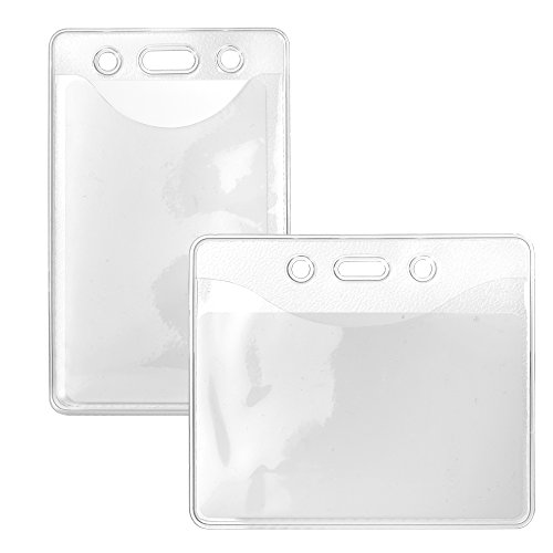 Karteo® Ausweishülle Din A7 Ausweishüllen Kartenhülle Kartenhüllen Ausweishalter Kartenhalter aus Vinyl Plastik transparent für Ausweise Dienstausweise Messen (74 x 105 mm) vertikal