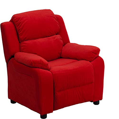 Flash Furniture Deluxe Padded Contemporary Red Microfiber Kids Recliner with Storage Arms