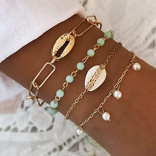 Branets Juego de pulseras en capas Boho Pulsera de concha de oro con cuentas de perlas Cadena de...