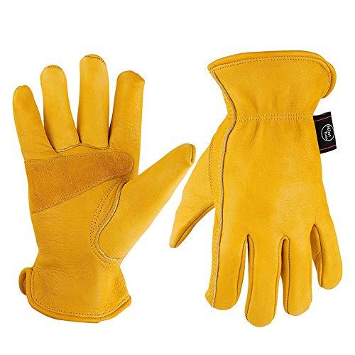 Kim Yuan Leder-Arbeitshandschuhe für Garten / Schneiden / Bau / Motorrad, für Damen und Herren, elastischer Bund mit verstärkter Handfläche, Größen: M / L / XL, gelb