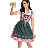 LOPILY Trachtenmode Damen Dirndl Damen Midi Trachtenkleid für Oktoberfest Dirndl Komplettsets mit Schnürze Rot Grün Karierte Traditionell Stickerei Dirndl Reizvolle Kleid (Grün, DE 38/CN L)
