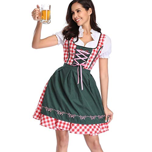 LOPILY Trachtenmode Damen Dirndl Damen Midi Trachtenkleid für Oktoberfest Dirndl Komplettsets mit Schnürze Rot Grün Karierte Traditionell Stickerei Dirndl Reizvolle Kleid (Grün, DE-38/CN-L)