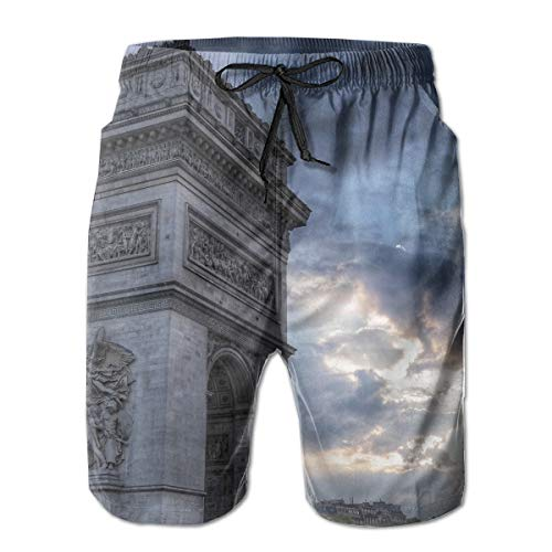 Swim Trunks Summer Cool Quick Dry Board Shorts Bathing Suit, Grey Arc De Triumph, Beach Swim Trunks