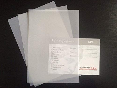 Top laminatie 100 vellen transparant papier helder wit DIN A6 80 g/m2 super kwaliteit ideaal voor knutselen, voor uitnodigingen, huwelijkskaarten, fotoalbums, als scheidingsblad, menukaarten, menukaarten, menukaarten
