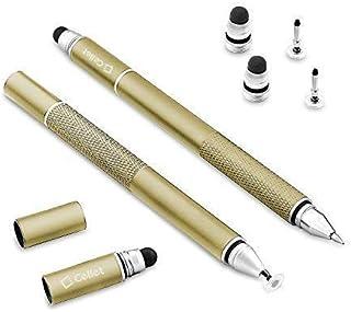 قلم ستايلس الشامل 3 في 1 (قلم ذو قرص شفاف دقيق قلم ذو سعة وقلم برأس كروي) يتضمن رأسين للاستبدال و1 قلم حبر كروي - ذهبي