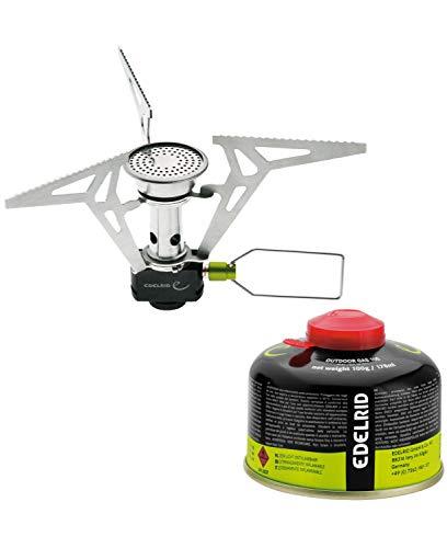 Edelrid Kiro ST - Hornillo para cocinas de Camping, Color Plateado y Negro