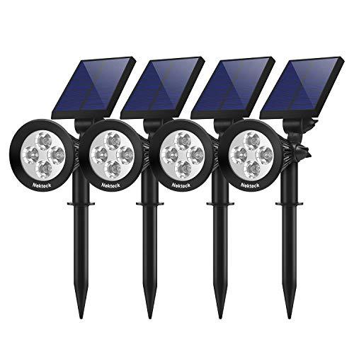 Nekteck 4 Pack Solar Lights,2-in-1 Outdoor Solar Spotlights Powered Adjustable Wall Light Landscape Lighting,Bright and Dark Sensing, Auto On/Off for Yard, Pathway, Walkway, Garden, Driveway