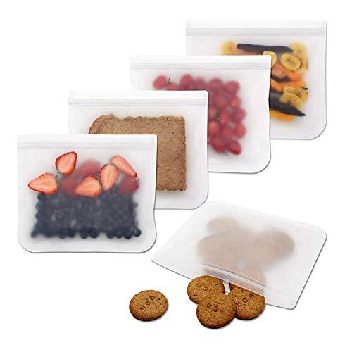 5pcs reutilizable bolsa de almacenamiento de alimentos frescos Frigorífico de mantenimiento bolso cosmético Fruta Leche Ziplock organizador de la cocina los alimentos de sellado de bolsas